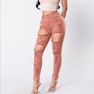 Salmon jeans